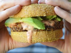 This spicy black bean burger recipe has great flavor and texture with added heat, and a sweet and spicy chipotle mayo. Great for leftovers too! Chipotle Mayo, Black Bean Burgers, Thing 1, Food Challenge, Peppers And Onions, Burger Recipes, Sweet And Spicy, Stuffed Green Peppers, Black Beans