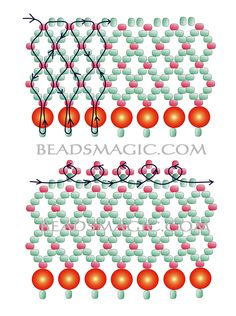 Free pattern for necklace Akasha - 2 ----------U need seed beads 11/0 and pearl beadS 4 mm.