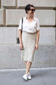 Lace skirt  | For more style inspiration visit 40plusstyle.com