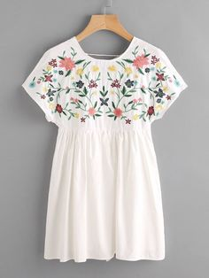 Shop Lace Up Back Embroidery Smock Dress online. SheIn offers Lace Up Back Embro… Shop Lace Up Back Embroidery Smock Dress online. SheIn offers Lace Up Back Embroidery Smock Dress & more to fit your fashionable needs. Modest Fashion, Girl Fashion, Fashion Dresses, Fashion Black, Fashion Fashion, Fashion Women, Vintage Fashion, Smock Dress, Tee Dress