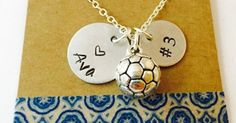Just Pinned to How To Make It: Soccer Necklace Hand Stamped Soccer Necklace Soccer Mom http://ift.tt/2n60Y2k