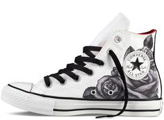 Converse white with black line art hi-tops