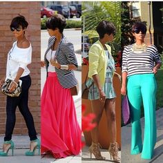 Like the turquoise pants with stripes and the pink skirt with stripe jacket