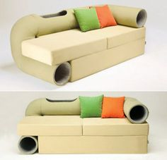 Spoiled: Couch With Integrated Habitrail Cat Tube For Your Cats. They would love this