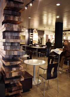 SBUX : 23rd & Burnside - Portland, OR on Behance Shipping Pallets, Portland, Behance, Restaurant, Wood, Oregon, Table, Retail, Bar