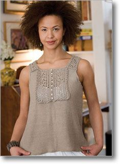 Sleeveless Tuxedo Tank by Theresa Schabes #knittingdaily