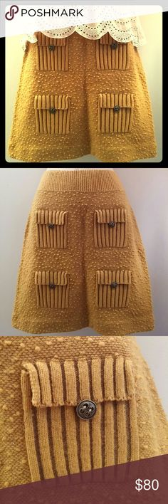 Anthropologie Moth Sweater Skirt Anthropologie skirt by Moth. 4 front flap pockets. Size S/P. Sweater material, does not have material tag. 18 inches in length. Mustard yellow. Anthropologie Skirts