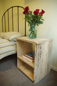 Industrial Pallet Bedside Table/Side Table. Would like to make some of and stain them with a light stain.