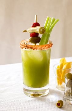 The Tomatillo Bloody Mary is a tangy and colorful take on the classic cure-all.