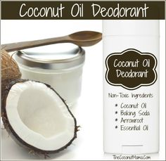 Coconut Oil Deodorant: c baking soda; c arrowroot powder; 4 T coconut oil (soft, room temperature); t Tea Tree oil (optional). Mix all until combined. Store in airtight container. I've used PLAIN old coconut oil! Homemade Coconut Oil, Baking With Coconut Oil, Coconut Oil Uses, Benefits Of Coconut Oil, Coconut Oil Deodorant, Natural Deodorant, Deodorant Recipes, Homemade Deodorant, Homemade Beauty