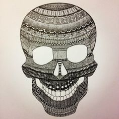 Skull zentangle done in pigma microns, available as prints on A4 or A3. http://depop.com/en/kradcliffe/skull-zentangle-done-in-pigma