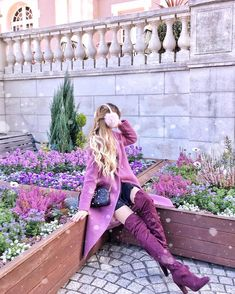 💜💗 Lily 💗💜 в Instagram: «When you find the winter flowers and they match your outfit💜🌸 Coat @urban_research Bag @gucci Boots @hm #Urbanresearch #Winterfashion…»