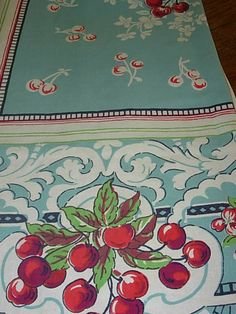 Vintage Kitchen Vintage cherries tablecloth~ Cherries are one of my very favorite motifs~ - pretty blue Love Vintage, Motif Vintage, Vintage Textiles, Vintage Decor, Vintage Antiques, Retro Vintage, Vintage Items, Vintage Stuff, Vintage Tablecloths
