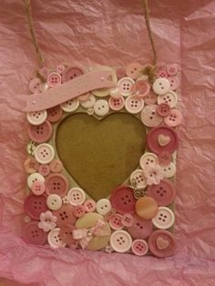 Baby Girl Gift Handmade Button Photo frame. by ButtonFrame on Etsy, £10.99