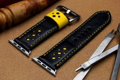Mestiery 100% Handmade Leather Watch Bands For 42mm Apple Watch with Yellow Leather Decoration with Yellow Stitching (Free ship)