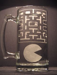 Pac Man Inspired Beer Mug Engraved Glass or by WastedTalentDesigns, $20.00
