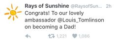 Rays of Sunshine tweeted congrats to Louis