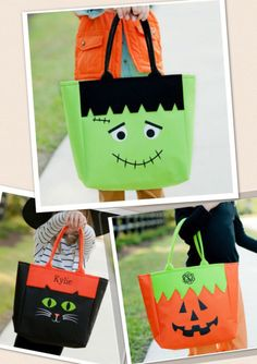 Choice of Personalized Halloween Trick or Treat Bags Goody Bag with Name or 3 Letter Monogram Black Cat, Pumpkin or Frankenstein Porche Halloween, Dulceros Halloween, Halloween Arts And Crafts, Halloween Trick Or Treat, Halloween Decorations, Manualidades Halloween, Adornos Halloween, Trick Or Treat Bags, Christmas Bags