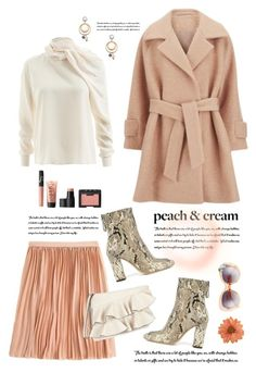 """Peaches and Cream"" by shortyluv718 ❤ liked on Polyvore featuring BP., 2NDDAY, NARS Cosmetics, WtR, NOVICA, Alexandre Birman, Miss Selfridge, booties, pleatedskirts and ruffles"