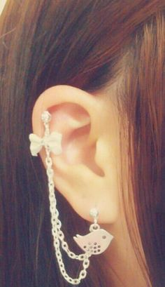Birds & Bow With Chains Cuff/Cartilage Earrings by SimplyyCharming, $8.50