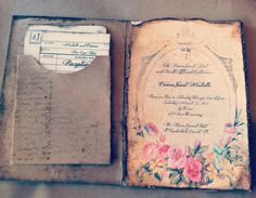 Book Wedding Invitations Invitation Pocketfold by ShabbyScrap, $12.00