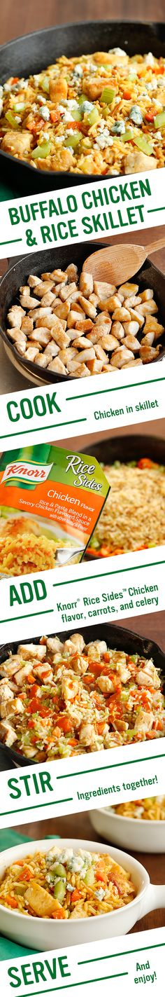 The dinner champion of supper bowls? Knorr's Buffalo Chicken & Rice is the perfect football inspired spread. It's the best meal idea for your favorite team- family! Follow this easy recipe for a winning flavor: 1. Cook chicken. 2. Add water, Knorr® Rice Sides™ - Chicken flavor, carrots, & celery 3. Stir in chicken & hot sauce. Serve sprinkled w/ blue cheese & chopped celery. Enjoy!
