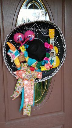 Sombrero Wreath Door Hanger, Cinco de Mayo Decor, Mexican Heritage Door Hanger by ADoorForEverySeason on Etsy Luau Theme Party, Cowboy Birthday Party, Fiesta Party, 2nd Birthday Parties, Party Themes, Pirate Party, Mickey Mouse Parties, Mickey Mouse Birthday, Toy Story Party