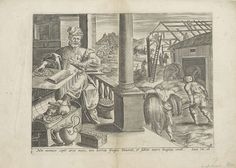 Anonymous | Gelijkenis van de rijke dwaas, Anonymous, Claes Jansz. Visscher (II), 1585 | Een rijke man laat nog grotere schuren bouwen voor zijn rijkdommen en zijn graan. Hij zit aan tafel tussen zijn geld. In de geopende kist ligt een stokbeurs. Onder de voorstelling een verwijzing in het Latijn naar de Bijbeltekst in Luc. 12:16 en naar het vervolg van het verhaal: de rijke man zal 's nachts sterven.