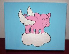 When pigs fly 8x10 stretched canvas with glitter wings fun whimsical folk art painted with acrylic paints