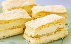 From a French vanilla custard slice & our Australian vanilla slice recipe to mille feuille and an easy chocolate custard slice, these creamy recipes are a must-try! Custard Slice, Vanilla Custard, Profiteroles, Cannoli, French Vanilla, Cookies Et Biscuits, Popular Recipes, Sweet Recipes, Vanilla Recipes