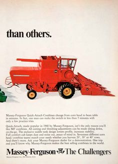 1969 Ad MF Massey Ferguson Quick Attach Combines Farm Machinery Agricultural SF2