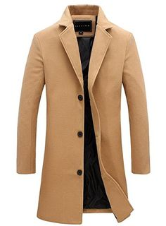 Mens Trench Coat Slim Fit Notched Collar Overcoat (XL, Camel)