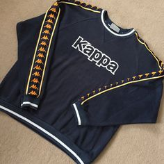 Amazing vintage kappa jumper, please note this has faults and has be worn lots . Refer to last two photos as there are slight holes on edging. But if I'm honest it still looks incredible on even so. Uk men's large