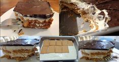 Υλικα 2 πακέτα πτί μπέρ 1κουτί ζαχαρούχο γάλα Νουνού 1 κιλό γιαούρτι 2 κουταλιές τις σούπας άχνη ζάχαρη 2 φακελάκια έτοιμο γλάσο Γιώτης [μπορείτε να φτιάξετε και δικό σας γλάσο] ΕΚΤΕΛΕΣΗ Στρώνουμε σε ταψάκι μεγέθους τούρτας 2 σειρές μπισκότα χωρίς να τα Greek Sweets, Greek Desserts, No Cook Desserts, Easy Desserts, Baking Recipes, Cake Recipes, The Kitchen Food Network, How Sweet Eats, Desert Recipes