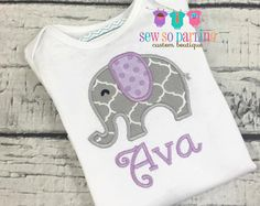 Items similar to Baby Girl Elephant Outfit Onesie, Appliqued Onesie, Baby Headband, Baby Skirt, Elephant, Pink, Grey on Etsy