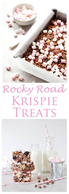 Rocky Road Rice Krispie Treats: Loaded with goodies such as nuts, shortbread, coconut & cherries these easy No-Bake Krispie Treats are a chocolate lover's dream come true. Mini Desserts, Easy Desserts, Delicious Desserts, Oreo Dessert, Rice Crispy Treats, Krispie Treats, Chocolate Rice Crispy Cakes, Rice Krispies, Rice Krispie Cakes