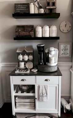 35 Awesome Diy Mini Coffee Bar Design Ideas For Your Home. If you are looking for Diy Mini Coffee Bar Design Ideas For Your Home, You come to the right place. Below are the Diy Mini Coffee Bar Design. Coffee Bars In Kitchen, Coffee Bar Home, Home Coffee Stations, Kitchen Cart, Kitchen Ideas, Kitchen Storage, Diy Kitchen, Coffe Bar, Office Coffee Station