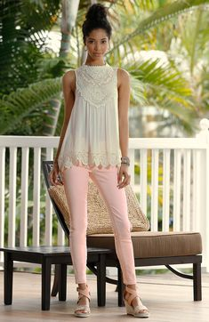 Modern Victorian | Leave others in awe with our Victorian-inspired swing tank and blush ankle jeans. A stunning bracelet, hoop earrings and crochet wedges evoke feminine charm.