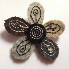 Tweed And Felt Flower Brooch  Handmade by BABUKO on Etsy