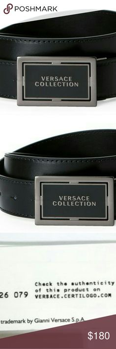 """Versace collection Black Leather Men's belt New with Tags Gorgeous smooth Black Leather strap,? Ruthenium-tone logo plaque buckle 1 1/2"""" width? Genuine Leather/Metal? Size 38-42"""". From the buckle to the first hole - 38"""", to the last hole - 42"""". Made in Italy Versace Collection Accessories Belts"""
