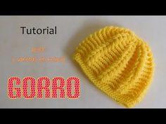 Como tejer gorro puff y varetas en relieve (varios talles) - YouTube