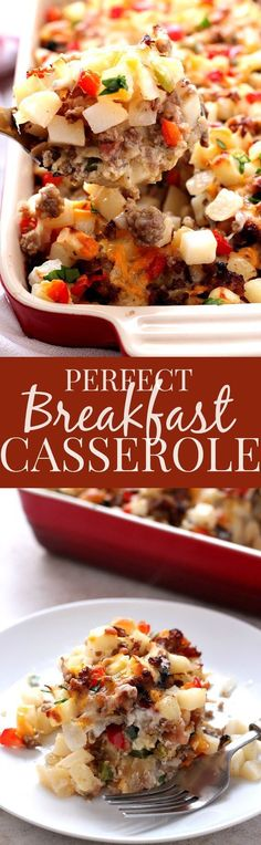 Perfect Breakfast Casserole everything you love about breakfast in one easy and delicious casserole! Bacon, sausage, mushrooms, peppers, onions, hash browns, eggs and cheese. This breakfast bake is perfection!