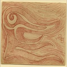 Tagore drew on whatever   came  to hand. The doodle displayed   here was done on the back   of a postcard, which is stamped   with the address - Oakdale,   Alvechurch, Nr Birmingham   of the Birmingham Quaker   settlement where Tagore   stayed briefly in 1930.
