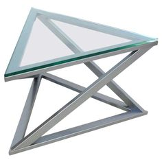 View this item and discover similar for sale at - Gunmetal finished triangular table with new glass top. Welded Furniture, Iron Furniture, Steel Furniture, Steel Coffee Table, Glass Top Coffee Table, Steel Table, Tea Table Design, Metal Side Table, Side Tables