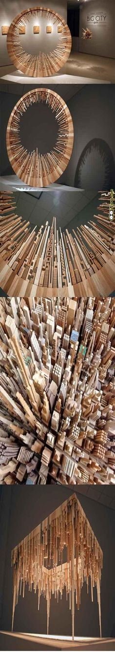 Wood Sculpture by James McNabb http://www.fastcoexist.com/1681441/check-out-these-breathtaking-urban-landscapes-made-out-of-wood-scraps#1