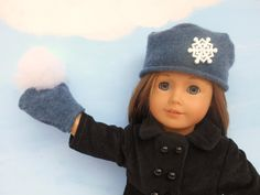 Felted Wool Doll Hat and Mittens Blue Hat and by DonnaDesigned, $15.00  https://www.etsy.com/listing/200846022/felted-wool-doll-hat-and-mittens-blue?ref=shop_home_active_1