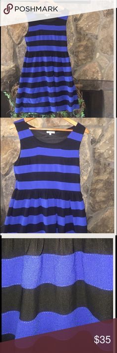 👑 Royal Blue and Black Stripe Dress 👑 This dress is fully lined side zipping. Royal blue and black. Bust 17 inches flat. Waist 31 inches flat. 34 1/2 inches flat. 100% polyester. JUST ADD BOOTS AND SWEATER FOR THAT FALL/WINTER LOOK Lucy & Co. Dresses Midi