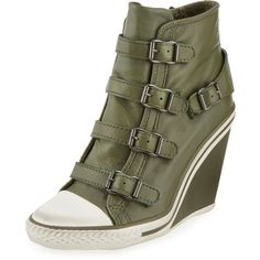 Ash Thelma Leather Wedge Sneaker ($111) ❤ liked on Polyvore featuring shoes, sneakers, military, wedges shoes, leather shoes, buckle shoes, platform sneakers and leather wedge sneakers