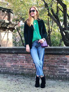 Get this look: http://lb.nu/look/8634521  More looks by Colourvibes Blog: http://lb.nu/colourvibes  Items in this look:  Asos Sweater, Zara Frayed Raw Hem Jeans, Zara Velvet Boots, Furla Cross Body Bag   #casual #chic #street #velvet #velvetblazer #velvetboots #frayedjeans #rawhem