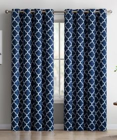 Take a look at this Navy Lattice Thermal Blackout Curtain Panel - Set of Two today!